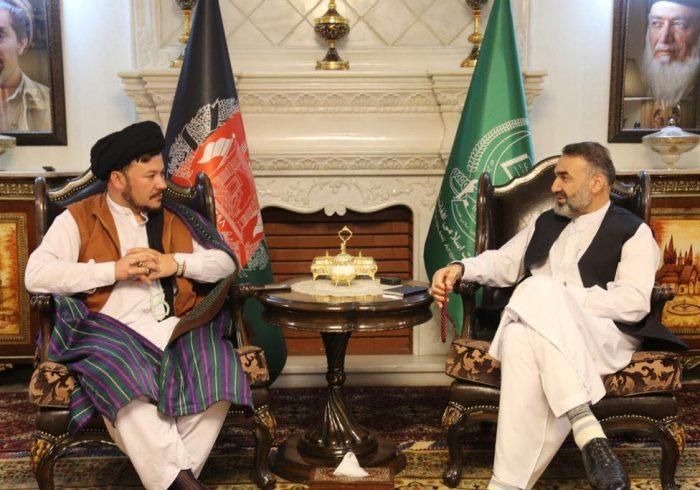 دیدار سترجنرال استاد عطامحمد نور، رئیس شورای اجرایی جمعیت اسلامی با سیدناصر یعقوبی و علم خان آزادی