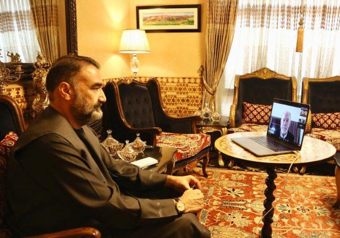 تماس ویدیویی سترجنرال استاد عطامحمدنور رییس شورای اجرایی جمعیت اسلامی با آقای راس ویلسون، سرپرست سفارت امریکا در افغانستان