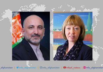 حنیف اتمر با سفیر انگلستان در کابل درباره صلح افغانستان تلفنی گفتگو کرد